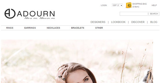 E commerce Web design for Adourn