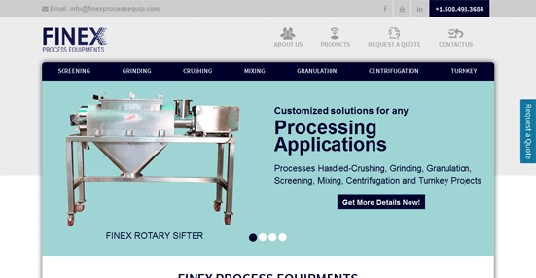 Website Design for Finex Process Equipments LLC