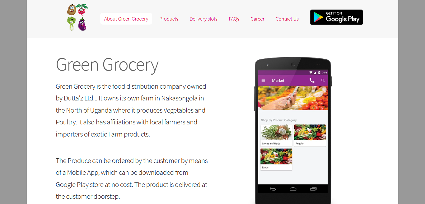 Website Design for Green Grocery