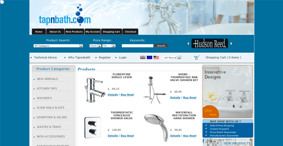 Ecommerce web design for tapnbath